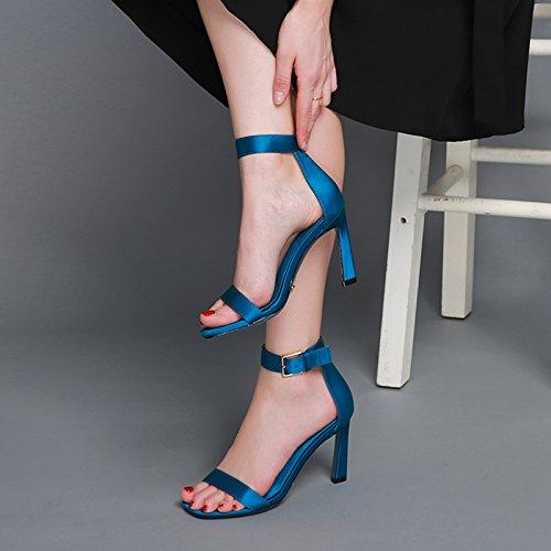Verano nuevos ZHANGYUSEN Mini Mujer mismos de abrocha verde Zapatos los y High En Heeled 2018 Solo el Son y Zapatos 6cm de Sandalias EwwnTrRqZX