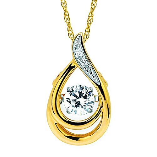 14K Yellow Gold Dancing Diamond Tear Drop Pendant Necklace, 18