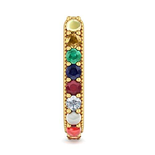 Or jaune 14K 0,06CT TW White-diamond (IJ | SI) et Boucles d'Oreilles Créoles Navaratna