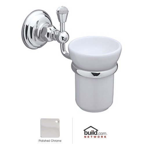 Rohl A1488CAPC A3003Lvpn A1488C Country Bath Wall Mounted Tumbler Holder with White Porcelain Tumble, Polished Chrome