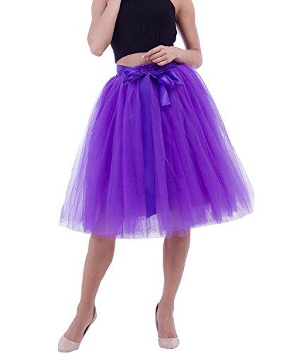 Robe Petticoat Vintage Comall sous Violet Tulle Jupon Rtro Couches Tutu en Jupe 65cm Femme 7 FOOtnqrw1