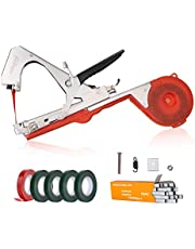 AOSOME Garden Vineyard Plant Tying Tape Tool - Agriculture Tapener Hand Tying Machine for Tomato, Cucumber, Grape Flower, Fruit and Vegetable Vine Branch, with 5 PE Tapes, 1 Box Tapetool Staples
