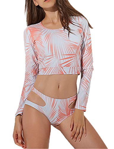 JadeRich Women's Floral Printing Cutout Long Sleeve 2-Pieces Rash Guard Swimsuits Orange ()