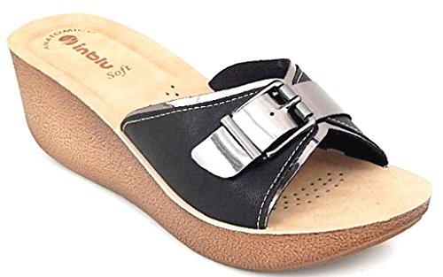 INBLU - Sandalias de vestir de piel sintética para mujer negro negro 35 negro Size: 39 1ARdr