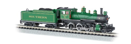 - Bachmann Industries #1012 Baldwin 4-6-0 Steam Locomotive and Tender DCC Equipped Southern Train Car, Green with Gold Stripes, N Scale