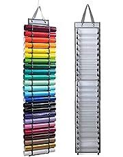Yosuny Vinyl Roll Holder with 24 Roll Compartments, Vinyl Roll Storage Rack Wall Mount,Over The Door, Craft Vinyl Storage Organizer Idea, Hanging Organizer Storage