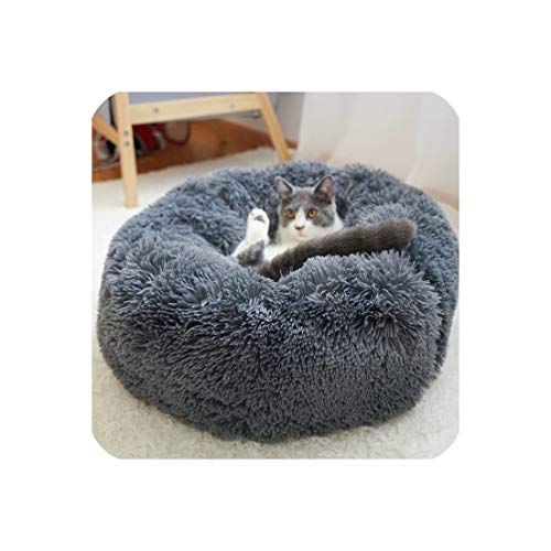 (Warm Fleece Dog Bed 4 Sizes Round Pet Lounger Cushion for Medium Large Dogs & Cat Winter Dog Kennel Puppy Mat Ped Bed,Black,Diameter 50Cm)