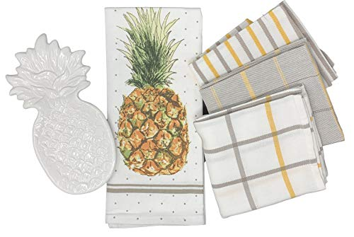(Tapps Home Décor Line White Ceramic Pineapple Spoon Rest with Set of 4 Kitchen Dish Towels)