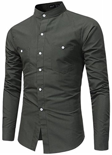 New ainr Men's Stand Collar Pockets Button Down Long Sleeve Formal Dress Shirt for sale