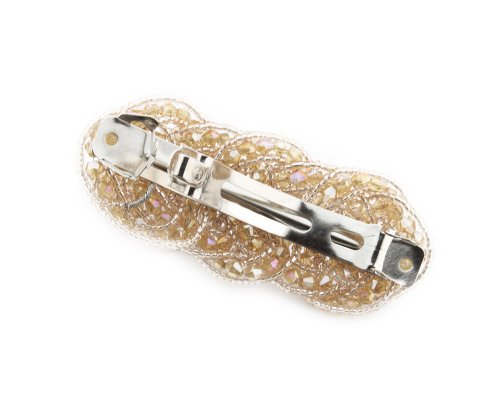 BONAMART Vintage Handmade Bling Beaded Comb Crystal Girls' Hair Clip Barrette Hairpin Champagne