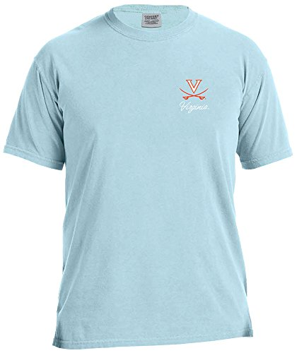 NCAA Virginia Cavaliers Adult Unisex NCAA Marquee Comfort Color Short sleeve T-Shirt,Large,Chambray