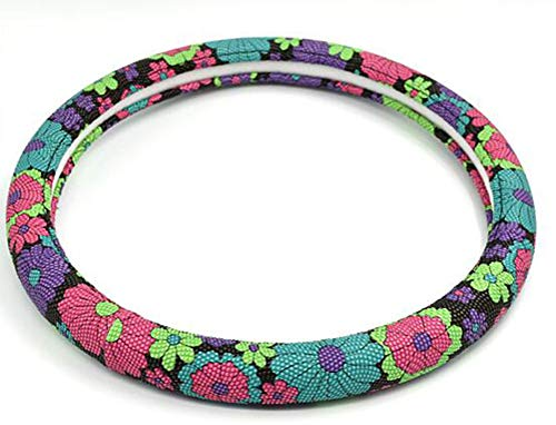 XiXiHao 15 Inch Microfiber Leather Auto Car Steering Wheel Cover Nice Design Printed Flowers for Women Girl Printed Flowers 2 -