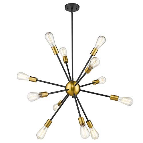 (Jazava Modern Sputnik Chandelier, 12-Light Starburst Pendant Lighting, Mid-Century Hanging Light Fixture, Black & Brass Brushed)