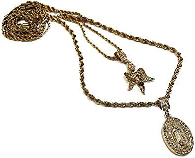 18k Gold Plated Double Chain Necklace with Two Jesus Piece Pendants