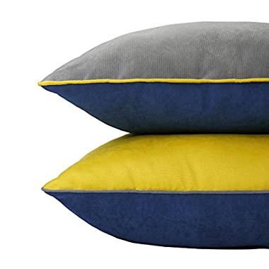DOZZZ 2 Pack Indoor/Outdoor Solid Accent Pillow Corduroy Throw Pillow Set for Couch Pillow Square Cushion for Chair/ Seat/ Bench Floor Cushion Set of 2, 18 x 18 Inch, Navy/ Yellow/ Grey