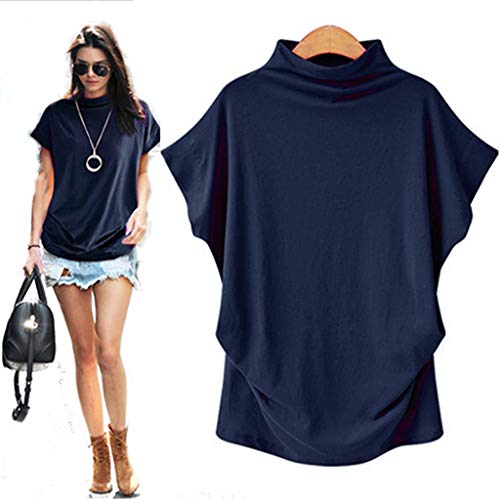 CGKUITER Womens Turtleneck Short Sleeve Cotton Solid Casual Color Loose Blouse Top T Shirt Plus Size Special Flare Sleeve Solid (M, Navy) ()