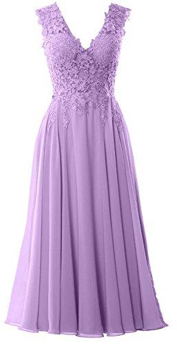 MACloth Gorgeous Tea Length Prom Homecoming Dress V Neck Formal Evening Gown Lavanda