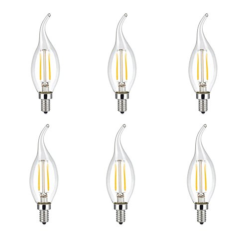 CIMC LLC Equivalent 20 Watt Vintage Edison Light Bulb 2W LED Candelabra Base Bulbs Dimmable Filament C35, 220V E14 Medium Base,5730 Chip,6000-6500k Soft White 180LM Decorative-6 Pack