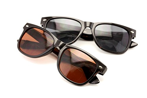 Classic Bifocal Outdoor Reading Sunglasses - Comfortable Stylish Simple Readers Rx Magnification (Both Pair, 1.75 x)