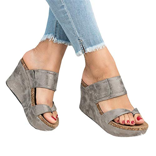 Womens Platform Slip On Cork Wedge Slide Sandals Mules Thong Slingback Summer Shoes Sliver