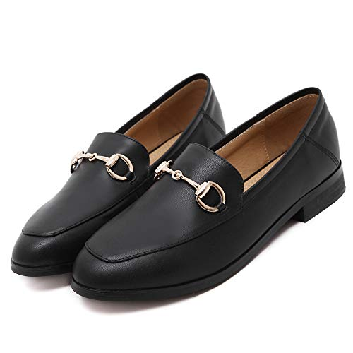 Black Buckle Meeshine Women's Leather Shoes On Comfort Slip Loafer qO84wF