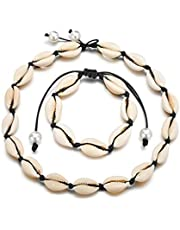 Timetries Cowrie Shell Choker Necklace for Women Seashell Strand Bracelets Summer Hawaiian Jewelry Set Beads Black Chain