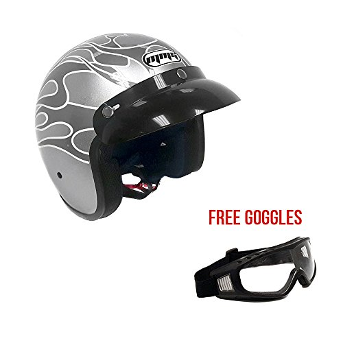 Motorcycle Cruiser 3/4 Shell Open Face Helmet Snap On Visor – Metallic Silver w/Flames (Small) + Free Goggles (Cruiser Goggles Flame)