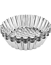 UPKOCH 16pcs Egg Tart Mould Tartlet Molds Stainless Steel Cupcake Cake Cookie Mold Pudding Mould Tin Baking Cups Bakery Bakeware Tool