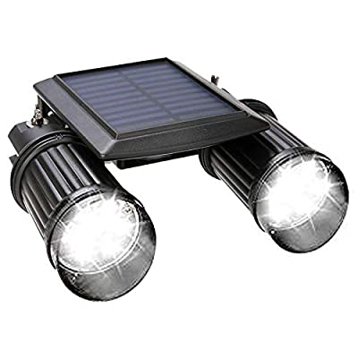 Solar Motion Sensor Light Outdoor,HJLFA Rotatable Dual Head 14LED Waterproof Wireless Solar Powered Security Flood Lights for Entryways Garden Driveway Patio Backyard (Not Dimmable)