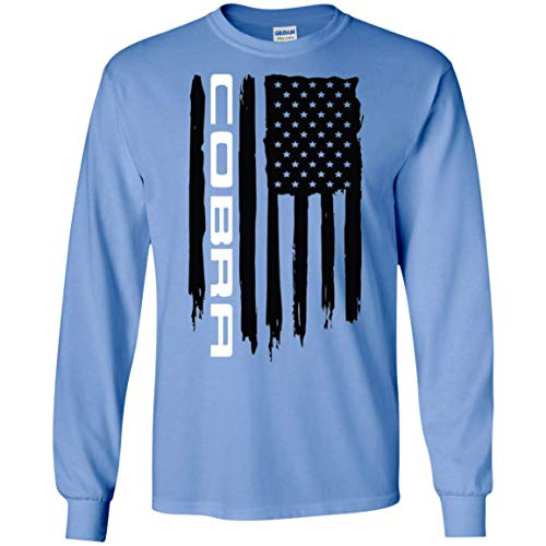 WheelSpinAddict Men's Cobra Shelby S550 S197 SN95 American Flag T-Shirt Carolina Blue