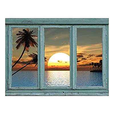 Wall26 - Perfect Sunset from a Tropical Island with Palm Trees and Blue Waters - Wall Mural, Removable Sticker, Home Decor - 24x32 inches