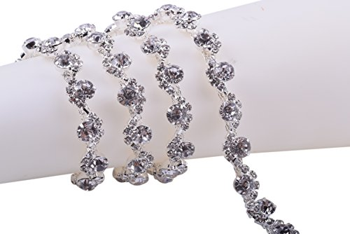 (KAOYOO 1 Yard Serpentine-Shaped Claw Chains Crystal Rhinestone Chain Silver Plating S Shape Winding Single Drill for Jewelry Crafts DIY,Sewing Craft or as a Present for Your Friends )