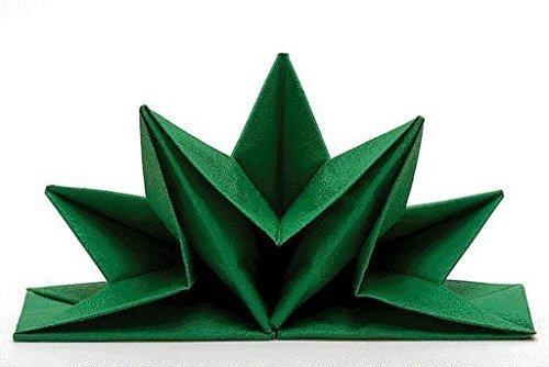 Tovaglioli Venezia, colore: verde, già piegati, contenuto pro pacchetto: 12 pcs, a forma di stella, decorazione della tavola, decorazione della tavola, matrimonio, Natale, battesimo, anniversario Sona-Lux