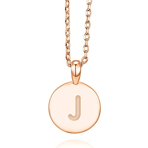 PAVOI 14K Rose Gold Plated Letter Necklace for Women | Gold Initial Necklace for Girls | Letter J