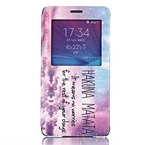 LZX HAKUNA MATATA Pattern PU Leather Cover with View Window for Samsung Galaxy Note 4