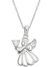 Women's Birthstone Sterling Silver Angel Pendant...