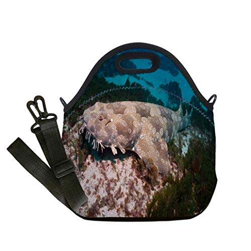 Custom Digital Printing Insulated Lunch Bag,Neoprene Lunch Tote Bags Spotted Wobbegong Shark Australia custom Stylish Lunch Bag, Multi-use for Men, Women and Kids