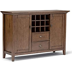 Simpli Home Redmond Solid Wood Sideboard Buffet & Winerack, Rustic Natural Aged Brown