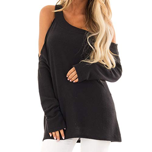 Goddessvan 2019 Women Solid T-Shirt Casual Long Sleeve Off Shoulder Oblique Collar Tops Blouse Black (Necklace 24' Herringbone)