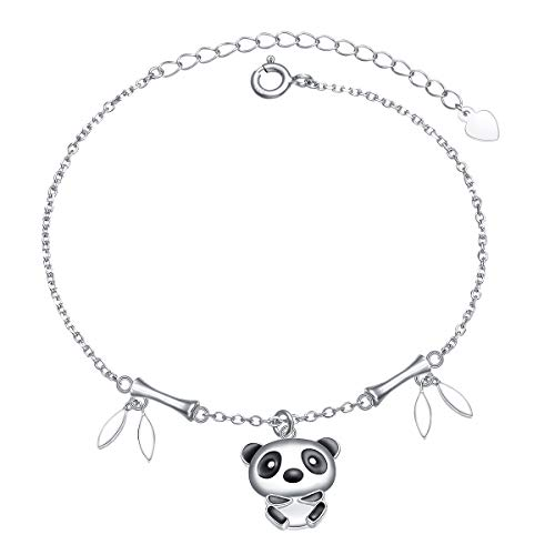 S925 Sterling Silver Lovely Panda with Bamboo - Bracelet Bamboo Bangle Silver