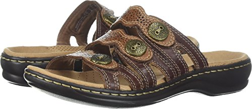 CLARKS Women's, Leisa Grace Slide Sandals Brown Multi 12 W