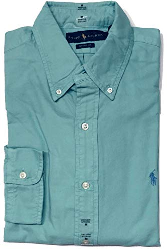 (Ralph Lauren Polo Mens Solid Oxford Pony Shirt Button-Down (Light Green/Blue Pony, Large))