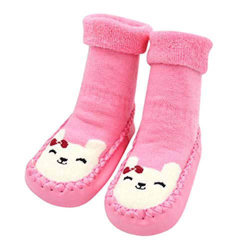 ♡QueenBB♡ Infant Baby Cartoon Patterned Soft Rubber Bottom Anti-Slip Floor Socks Boots Breathable Cotton Shoes Socks]()
