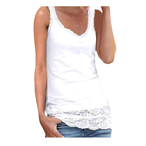 Sunhusing Ladies Lace Stitching Sleeveless Vest with Lace Trim Hem Embellished Beach Tank Top Shirt White