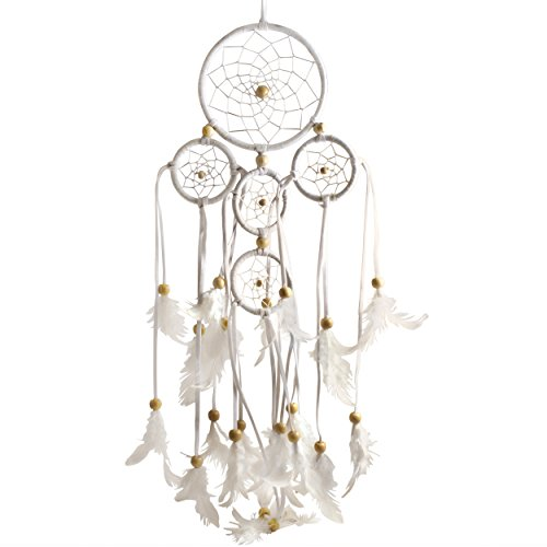 Top Line Marketplace Hand Made Indian Art Dream Catcher with Real Feathers, White