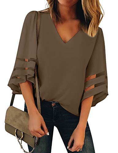 (LookbookStore Women's Brown V Neck Casual Mesh Panel Blouse 3/4 Bell Sleeve Solid Color Loose Top Shirt Size XXL(US 20-22))