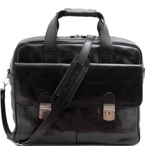 Tuscany Leather Reggio Emilia - Exclusive leather laptop case Black