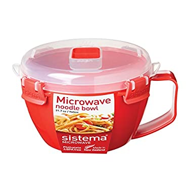 Sistema Microwave Cookware Noodle Bowl, 31.7 Ounce/ 4 Cup, Assorted Colors