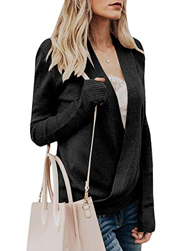 Paris Hill Womens Knitted Deep V-Neck Long Sleeve Wrap Front Loose Sweater Pullover Jumper Tops Black Small by Paris Hill (Image #3)