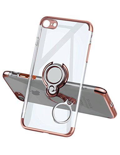 (iPhone 6 Plus Case 6S Plus Case,Meetree Phone Cover Clear Slim Ultra Thin Case Rotating Ring Grip Holder Stand Magnetic for Car Mount Shock Absorption Bumper Case for iPhone 6 Plus 6S Plus-Rose Gold)